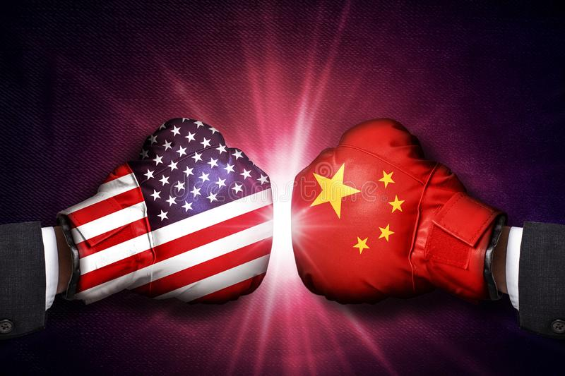 Diplomatic and Trade conflict Concept  between China and USA. Diplomatic and Trade war conflict Concept  between China and USA royalty free stock photography