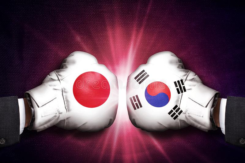 Diplomatic and Trade conflict Concept  between Japan and  Korea. ASIA royalty free stock photo