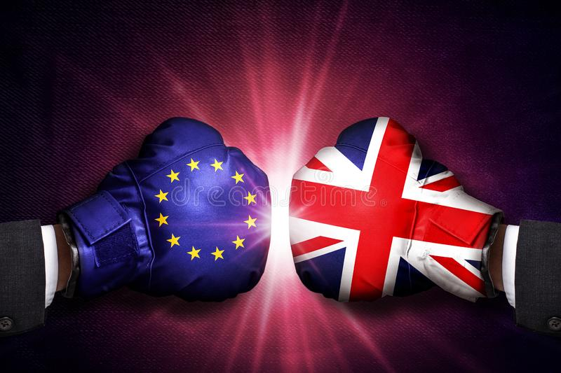 Diplomatic and Trade  Concept  between United Kingdom and  European Union. Diplomatic and Trade conflict Concept  between United Kingdom and  European Union stock images