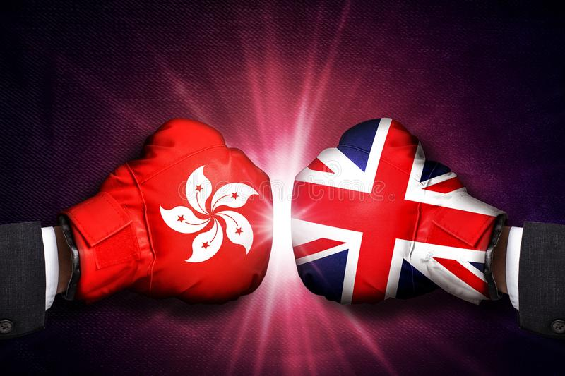 Diplomatic and Trade  Concept  between United Kingdom and  Hong Kong. Diplomatic and Trade conflict Concept  between United Kingdom and  Hong Kong royalty free stock photos