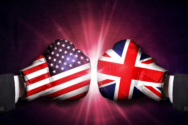 Diplomatic and Trade  Concept  between United Kingdom and  USA. Diplomatic and Trade conflict Concept  between United Kingdom and  USA royalty free stock images