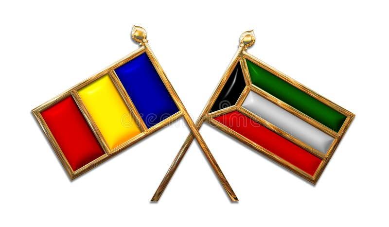 Diplomatie Roemenië en de Vlaggen van Koeweit royalty-vrije stock foto's