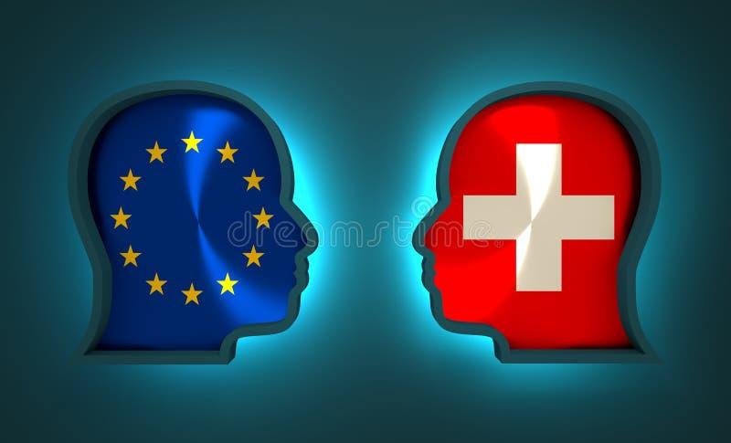 Diplomatisches und wirtschaftliches Verhältnis zwischen Europäischer Gemeinschaft und der Schweiz lizenzfreie abbildung