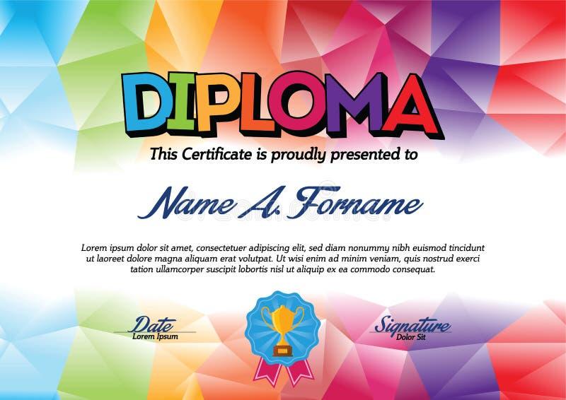 Diplomcertifikatmall med den färgrika ramen för barn royaltyfri illustrationer
