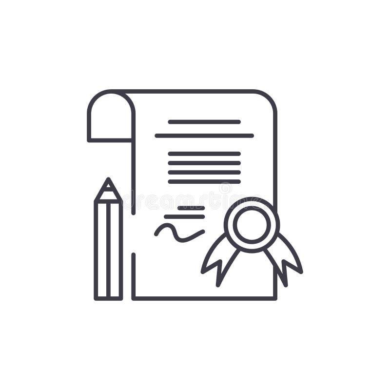 Diplomlinje symbolsbegrepp Linjär illustration för diplomvektor, symbol, tecken royaltyfri illustrationer