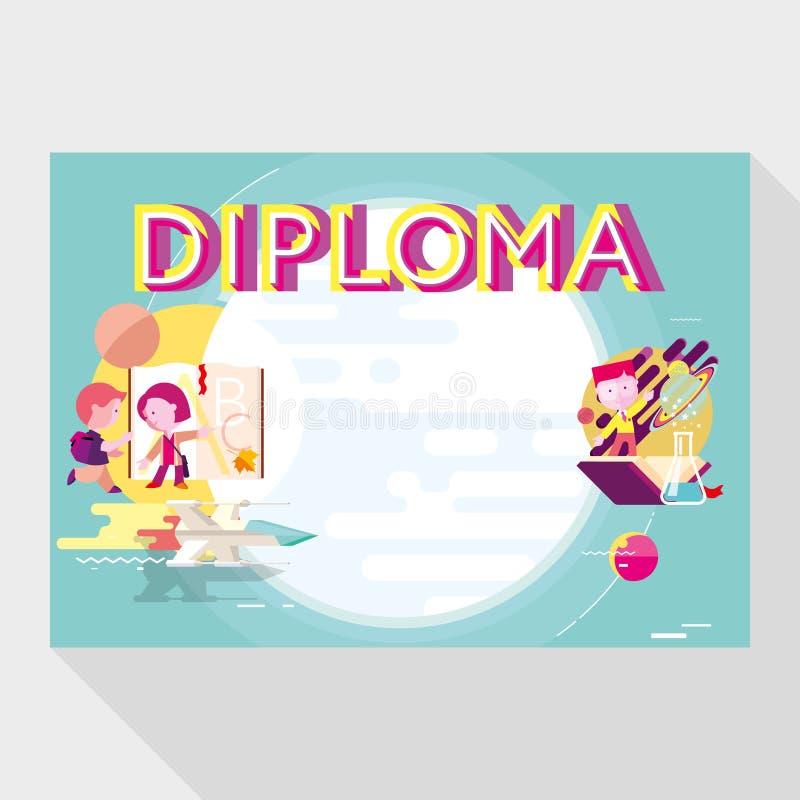 Diplommall för skola stock illustrationer