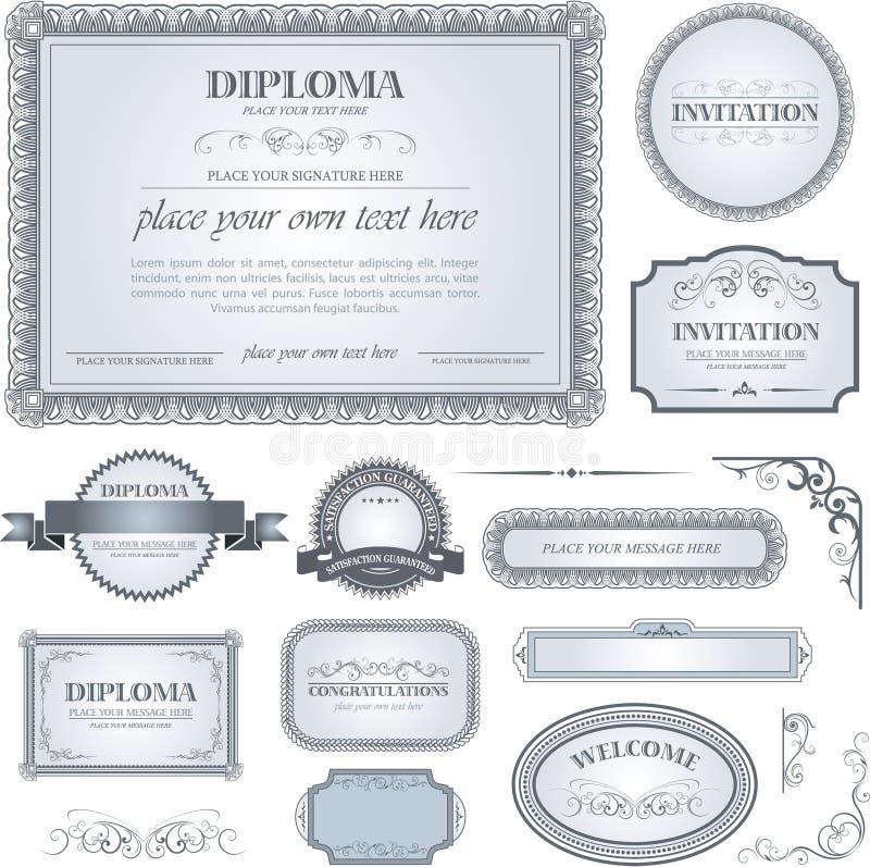Diplommall med extra designbeståndsdelar royaltyfri illustrationer