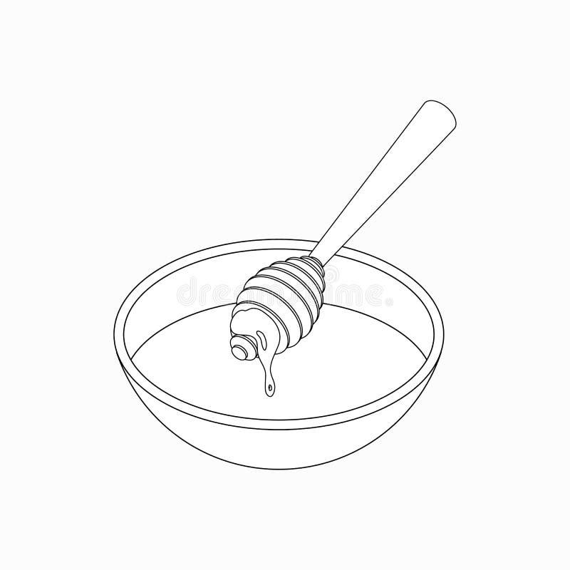 Dipper con l'icona del miele, stile isometrico 3d illustrazione vettoriale