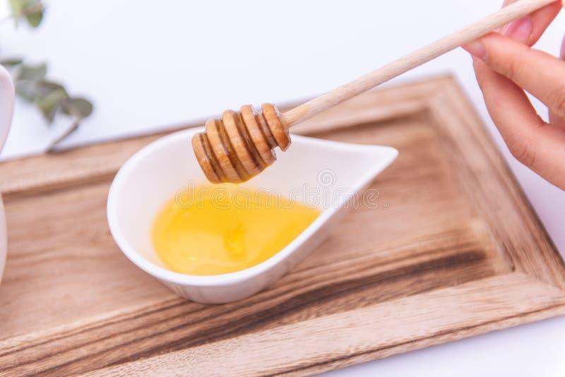 Dipper do mel em um receptor branco imagens de stock