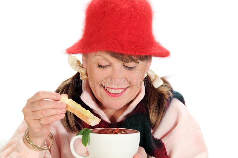 Download Dipping Bread In Soup stock image. Image of smiling, joyful - 10645267