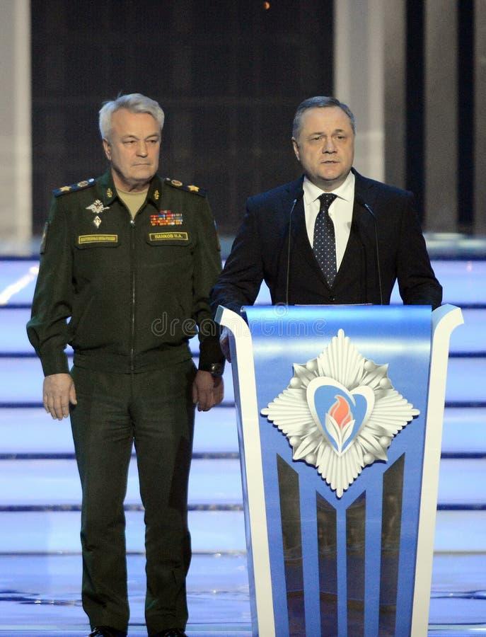 Diputado ministro de Defensa de la Federación Rusa, general del ejército Nikolai Pankov y diputado Minister de la defensa civil V imágenes de archivo libres de regalías