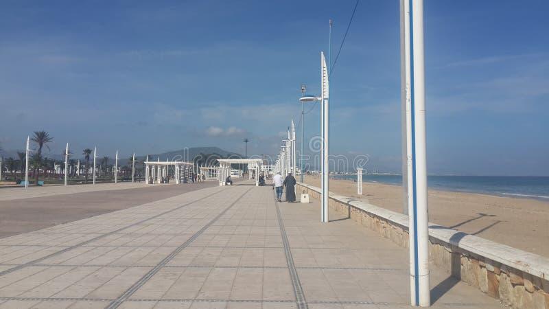Diq de la corniche M, plage de diq de M, Maroc photo stock