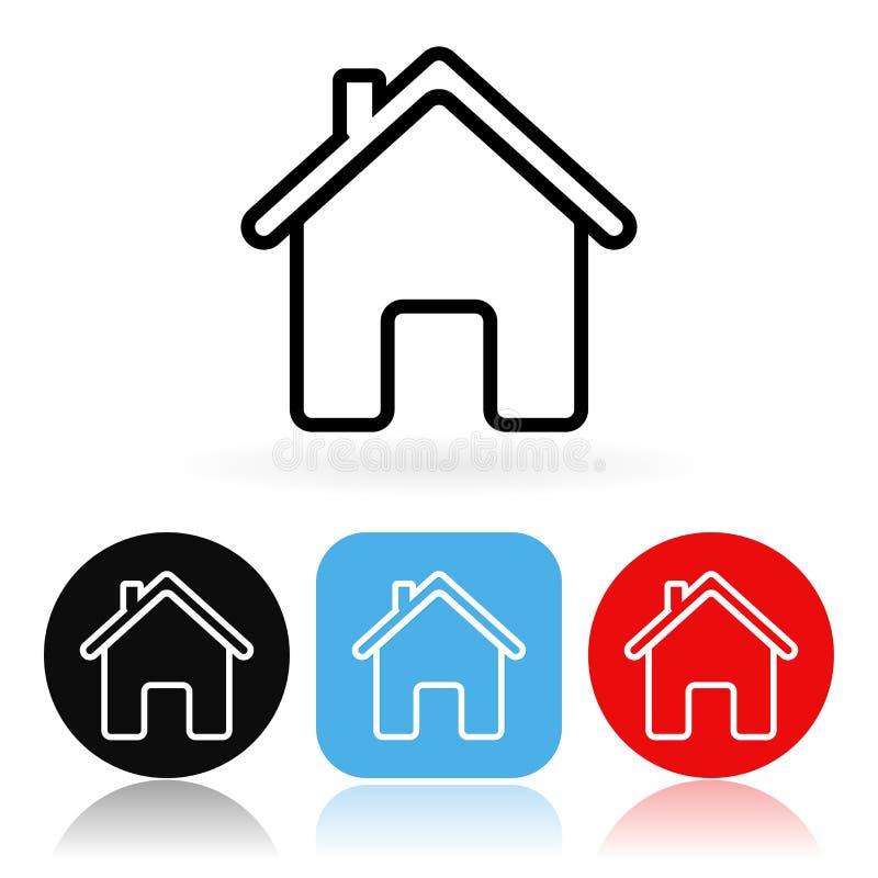 Diríjase el icono Iconos coloreados con la casa ilustración del vector