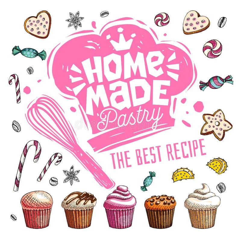 Diríjase el logotipo hecho del café de la tienda de pasteles para diseñar la etiqueta, emblema Vector drenado mano stock de ilustración