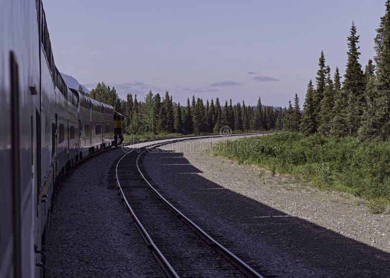 A direção do trem de estrada de ferro de Alaska sul de Denali imagens de stock royalty free