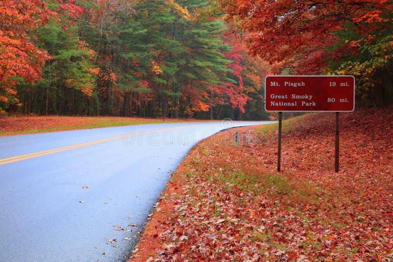 Direção a Pisgah ou o grande parque nacional de montanha fumarento em Ridge Parkway In Autumn azul fotos de stock royalty free