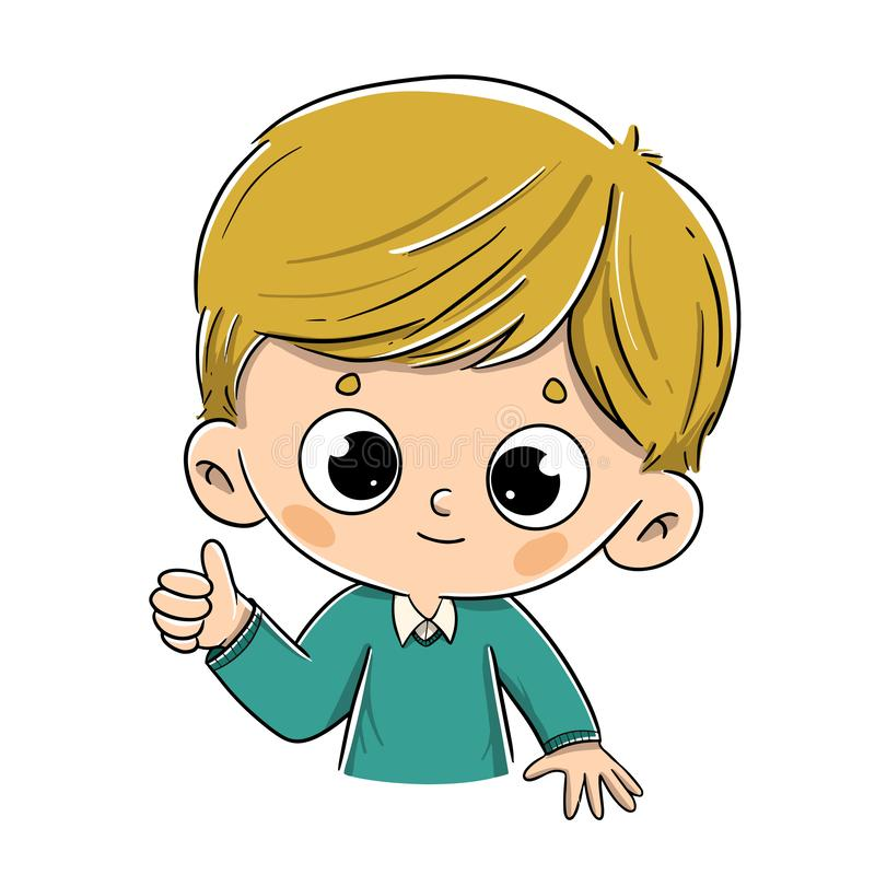 Dire blond de garçon correct avec le pouce illustration libre de droits