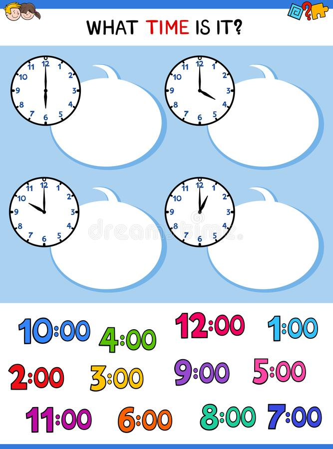 Dire compito del fumetto del fronte di orologio marcatempo illustrazione di stock