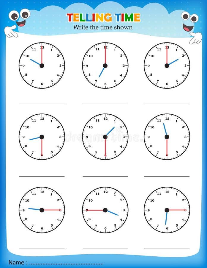 Dire il foglio di lavoro di tempo illustrazione vettoriale