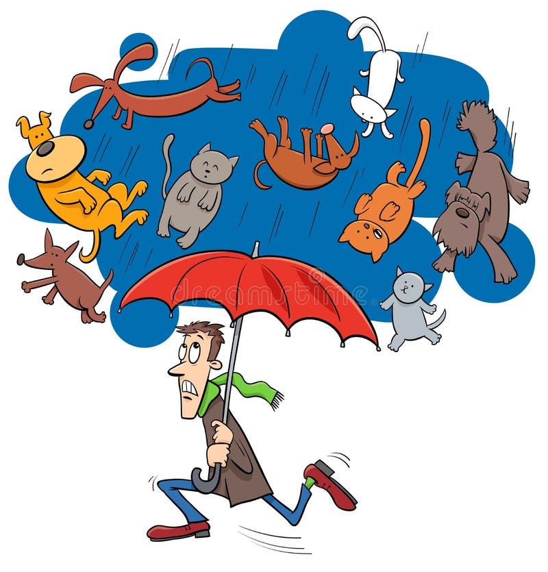 Dire pleuvant l'illustration de bande dessinée de chats et de chiens illustration de vecteur