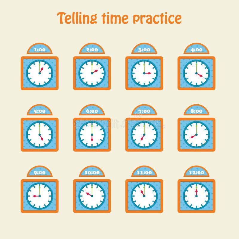 Dire pratica di tempo illustrazione vettoriale