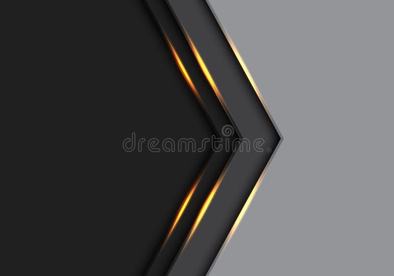 Dirección abstracta de la flecha de la luz del oro en gris y negro con vector futurista moderno del fondo del diseño de espacio e libre illustration