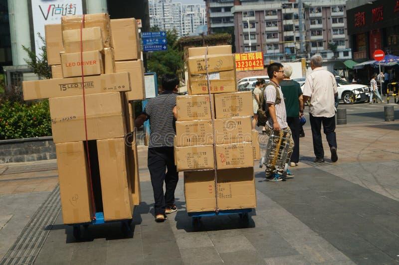 Dirección de mercancías, en la calle comercial del norte de Shenzhen Huaqiang foto de archivo libre de regalías