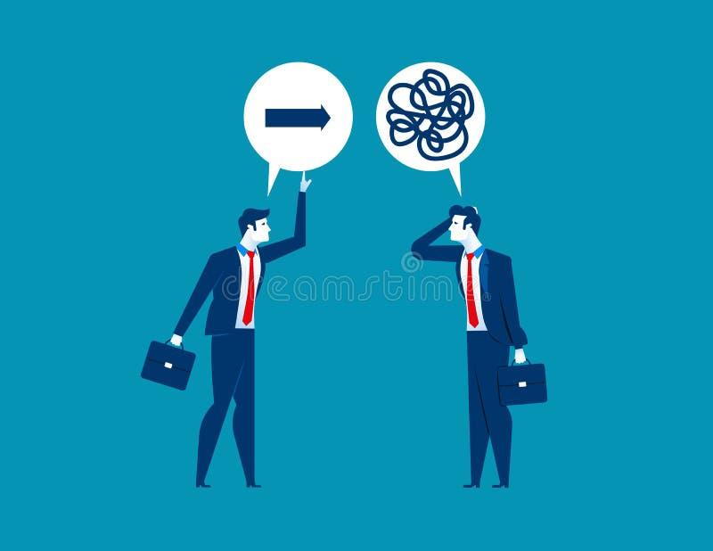Dirección de ofrecimiento del hombre de negocios al colega confundido sobre directo libre illustration
