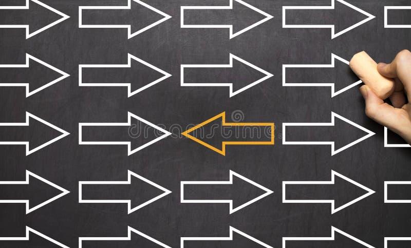 Dirección del cambio - pizarra del concepto del negocio de la gestión imagenes de archivo