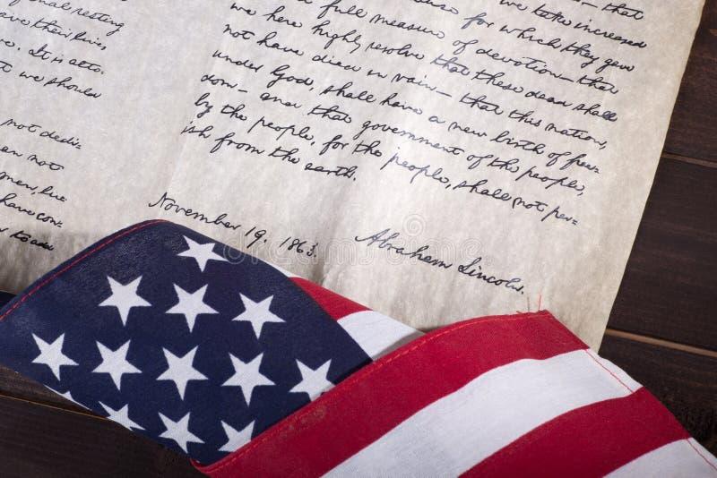 Dirección del ` s Gettysburg de presidente Abraham Lincoln fotos de archivo