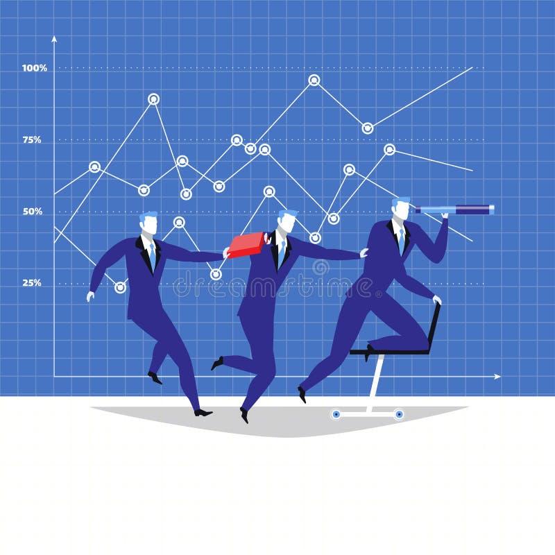 Dirección, ejemplo del vector del concepto del trabajo en equipo en estilo plano libre illustration