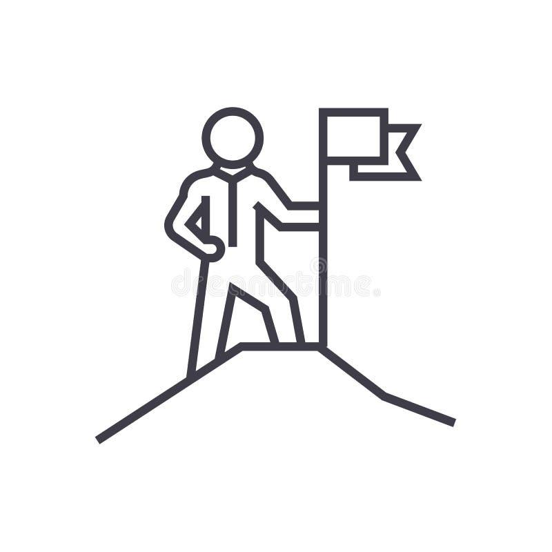Dirección, hombre con la línea icono, muestra, ejemplo del vector de la bandera en el fondo, movimientos editable ilustración del vector
