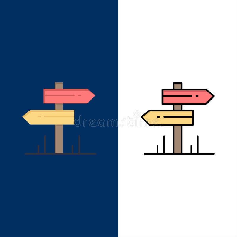 Dirección, hotel, motel, iconos del sitio El plano y la línea icono llenado fijaron el fondo azul del vector stock de ilustración