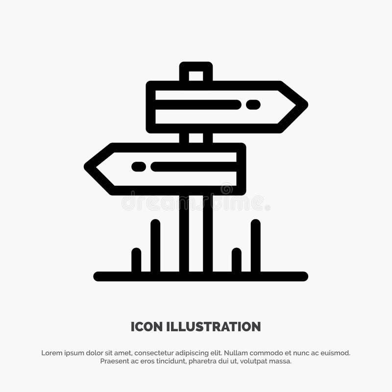 Dirección, hotel, motel, línea icono del vector del sitio ilustración del vector