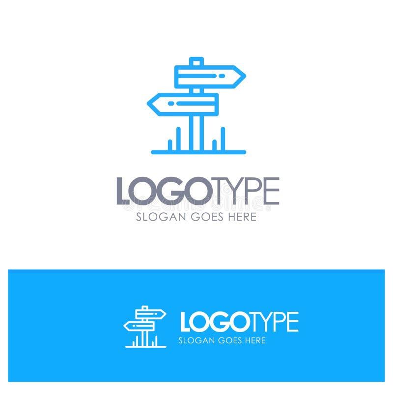 Dirección, hotel, motel, sitio Logo Line Style azul ilustración del vector