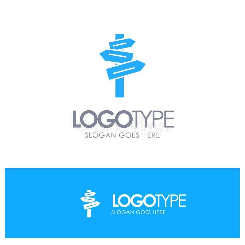 Dirección, hotel, motel, vector azul del logotipo del sitio stock de ilustración
