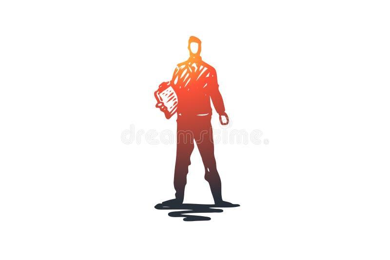 Dirección, negocio, encargado, líder, concepto del equipo Vector aislado dibujado mano stock de ilustración