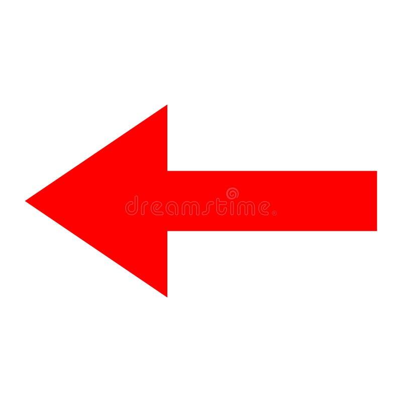 Dirección roja de la flecha del icono en un fondo blanco fotos de archivo