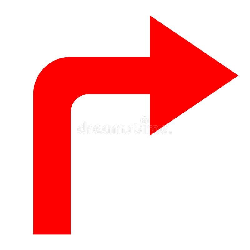Dirección roja de la flecha del icono en un fondo blanco fotografía de archivo