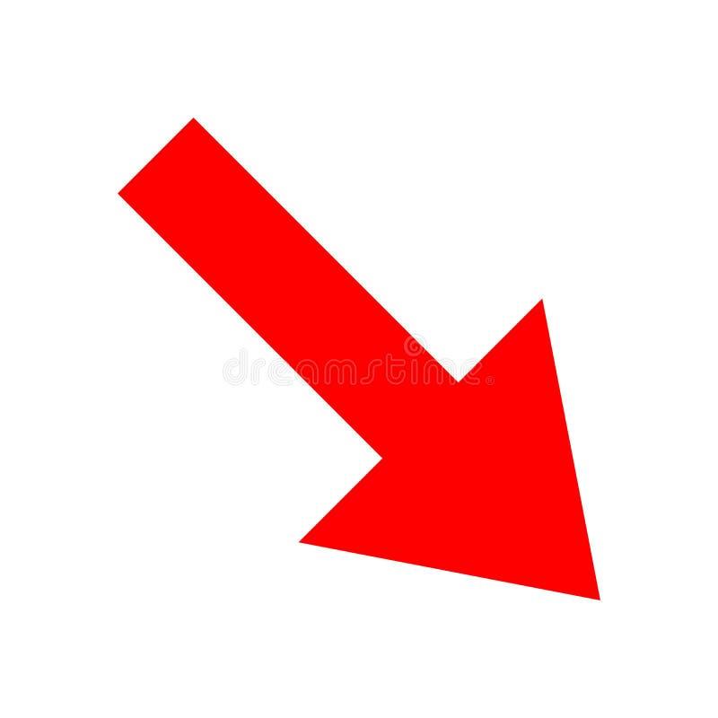 Dirección roja de la flecha del icono en un fondo blanco fotos de archivo libres de regalías