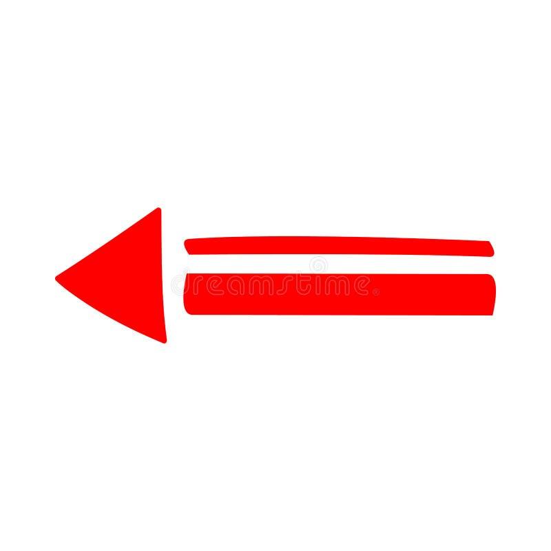 Direcci?n roja de la flecha del icono en un fondo blanco fotos de archivo libres de regalías