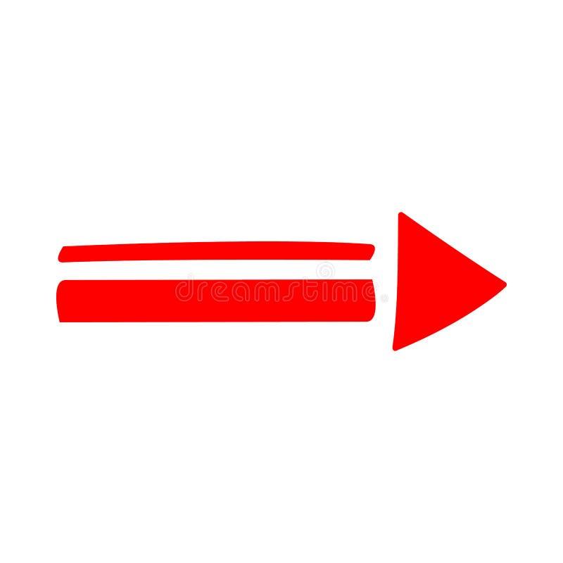 Direcci?n roja de la flecha del icono en un fondo blanco imagen de archivo libre de regalías