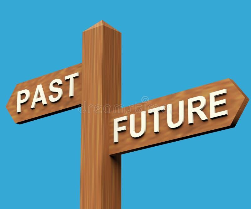 Direcciones últimas o futuras en un poste indicador ilustración del vector