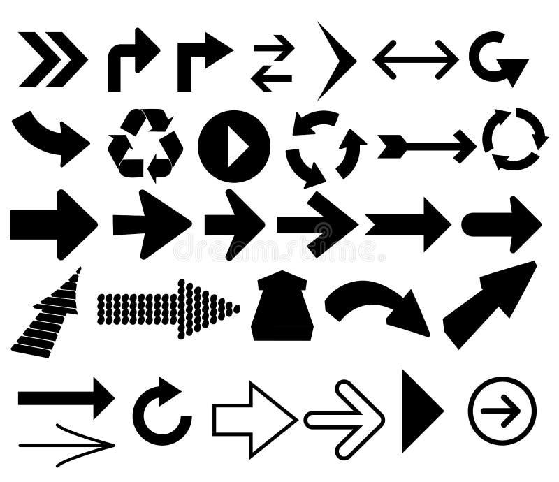 Direcciones de la flecha de los indicadores ilustración del vector