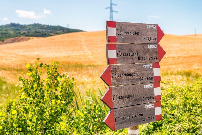 Direcciones del camino en el campo de Toscana, Italia imagenes de archivo
