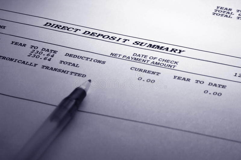 Direct Deposit Summary. A banking statement showing the electronic transmittal of funds from one financial institution to another. Paper has a parchment royalty free stock images