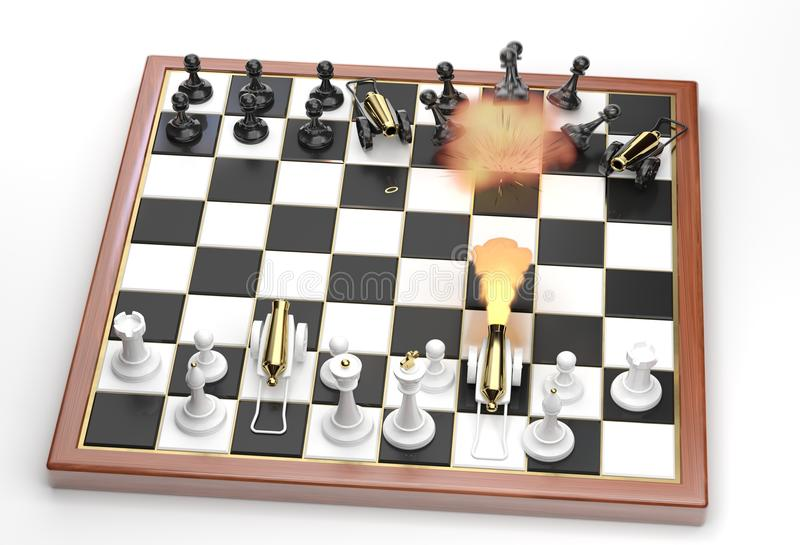 Direct hit! Little war on a chessboard. royalty free illustration