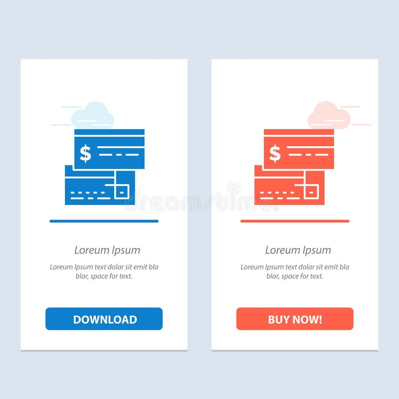 Direct Payment, Card, Credit, Debit, Direct  Blue and Red Download and Buy Now web Widget Card Template royalty free illustration