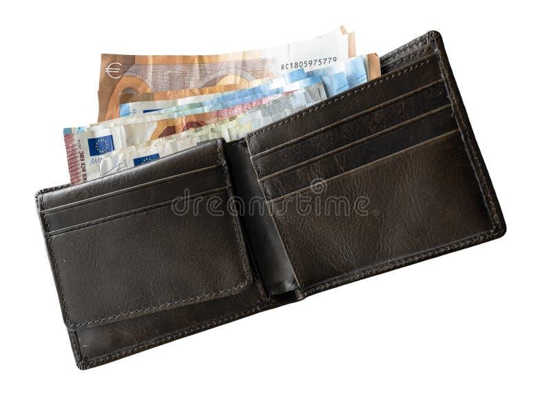 Directamente sobre el tiro del efectivo de la cartera adentro en el fondo blanco foto de archivo