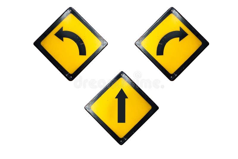 Directement, tournez le signe gauche et droit est isolé sur le backgrou blanc photos stock
